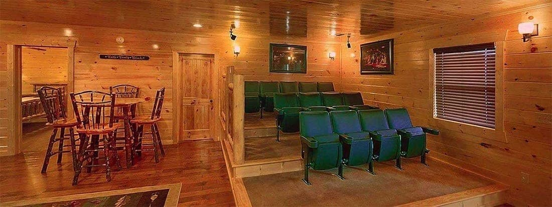 theater room in a large cabin in pigeon forge