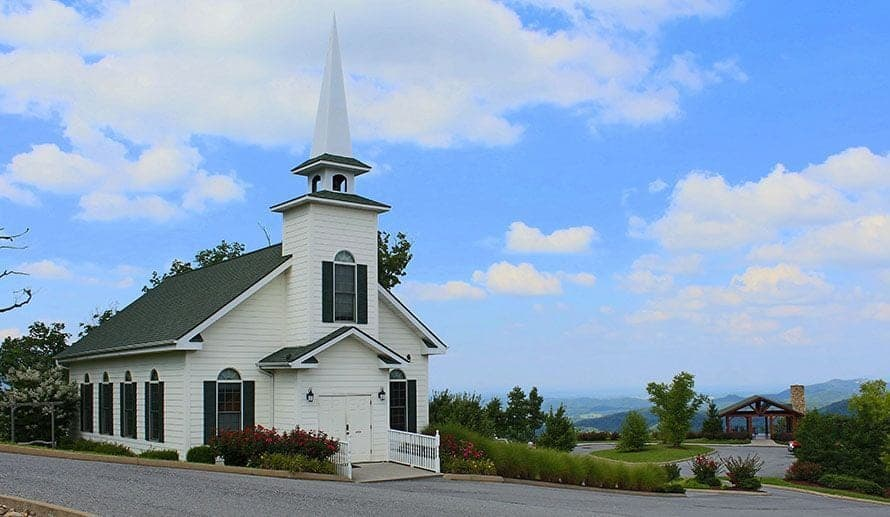 Traditional wedding chapel with Smoky Mountain view at HearthSide at the Preserve