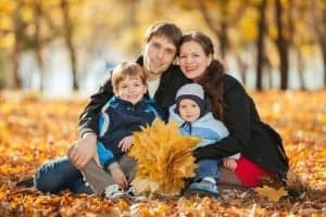 family photos during fall in the Smoky Mountains