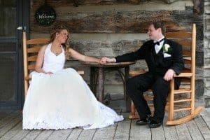 Couple getting married in a Pigeon Forge cabin