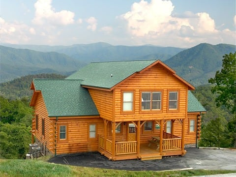 Exterior shot of one of our large group cabins in Pigeon Forge TN