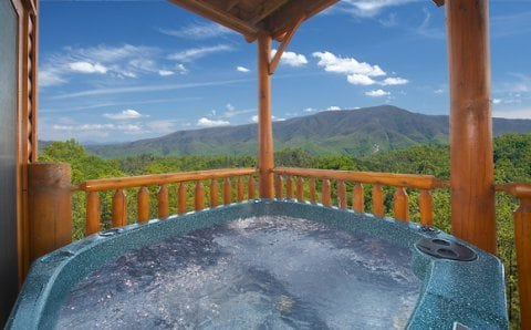 View from the hot tub on the deck of one of our large group cabins in Pigeon Forge TN
