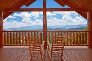Private back deck of Mountain Pause Retreat Wears Valley luxury cabin rental