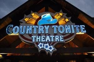 The neon sign for the Country Tonite Theatre in Pigeon Forge.