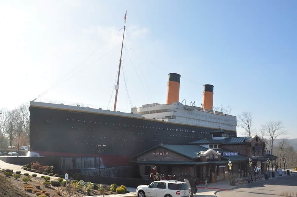 A photograph of the Titanic Museum in Pigeon Forge during the winter