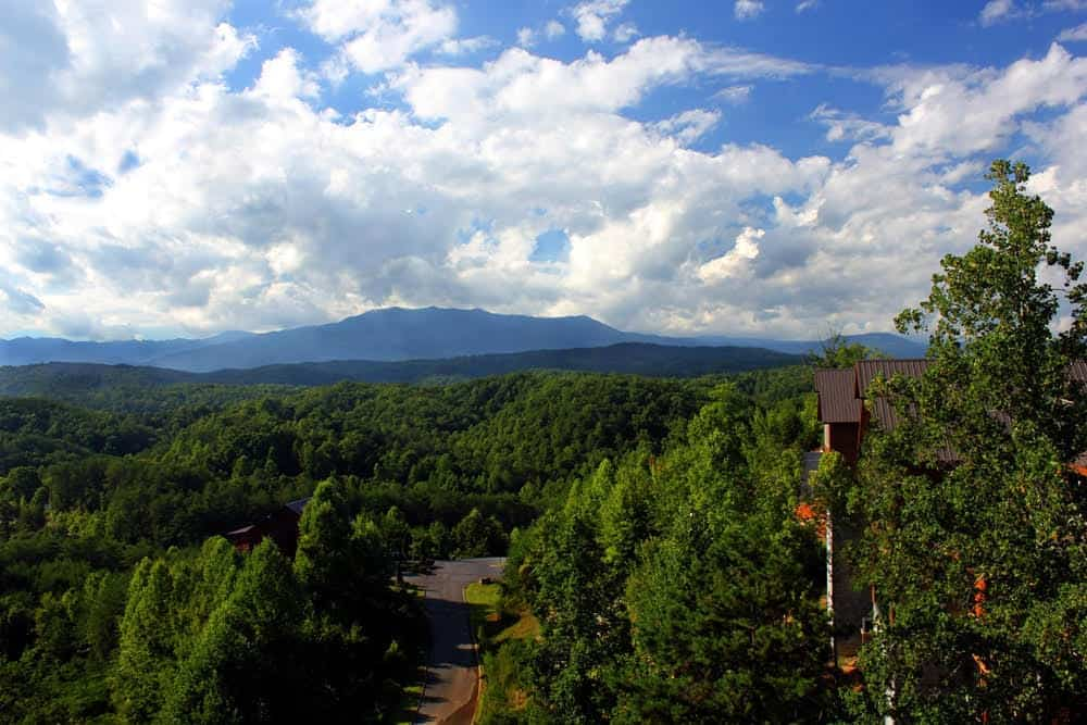 Beautiful mountain views from the King of the Mountain cabin in Pigeon Forge