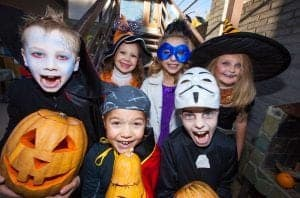 Kids in Halloween costumes at The Island in Pigeon Forge