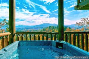 hot tub at cabin in the Smokies during fall